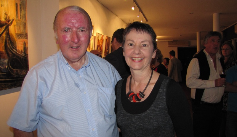 "With Max Coleman from the Mosman Art Society at opening of ""For the love of Italy"" Exhibition"