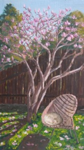 "Magnolia Time, oil on board, 9"" x 5"""