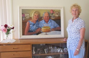 Mum with her portrait painting