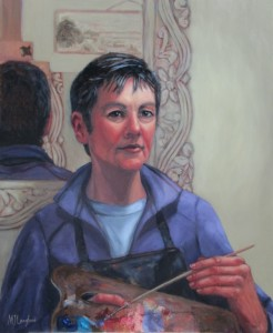 Self Portrait: In the moment, Oil on board, 62cm x 51cm