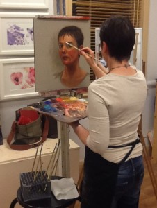 Self portrait in progress in Kristin's Studio