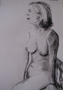 Untitled, charcoal on paper, by Marion Langford