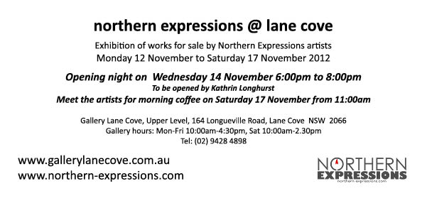 Invite to Northern Expressions exhibition at Lane Cove Gallery
