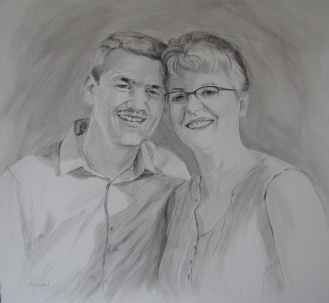 Edith and Christian, charcoal and wash on paper