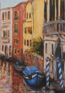 Vignettes of Venice: Blue Poles, 30cm x 21 cm, oil on board, by Marion Langford
